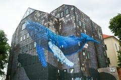 Настенная роспись синего кита в Загребе Стоковые Фото