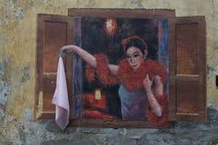 Настенная роспись танцора кабаре Kwai Chai Hong стоковые изображения