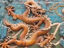 настенная роспись 5 драконов Стоковое Фото