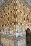 Настенные живописи дворца Джайпура янтарные Стоковые Фотографии RF