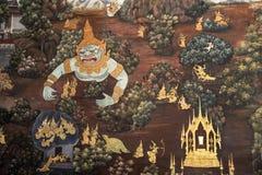 Настенные росписи в буддийских висках Стоковое Изображение RF