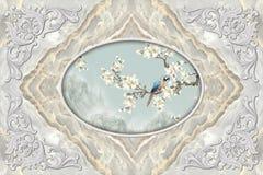 настенные росписи обои потолка 3d, рамка оформления штукатурки, попугай на цветистой ветви в середине на серой мраморной предпосы иллюстрация штока
