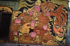 Настенные росписи переулка фанфаров очень красивые очень творческие, 54 Стоковые Изображения RF