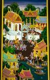 Настенные росписи Таиланд Pathumthani виска автора. Стоковые Изображения RF
