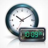 Настенные часы и электронная шкала на белизне иллюстрация штока