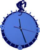 Настенные часы при хоккеист изолированный на белизне стоковые изображения rf