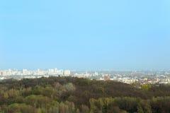 Настелите крышу взгляд города вдоль леса против голубого неба Стоковые Изображения RF