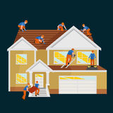 Настелите крышу дом ремонта рабочий-строителя, дом плитки крыши отладки структуры строения с трудовым оборудованием, людьми roofe стоковое изображение rf