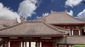Настелите крышу украшения на пагоде гусыни территории гигантской одичалой, буддийская пагода расположенная в южном Xian Sian, XI  видеоматериал