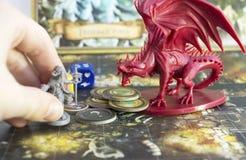 Настольная игра, роль играя игру, подземелья и драконы спуска, dnd Стоковое Фото