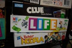 Настольные игры некоторыми из самых больших компаний настольной игры стоковое изображение