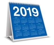 Настольный компьютер 2019 календаря в голубом цвете иллюстрация вектора