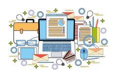 Настольный компьютер компьютера рабочего места офиса с концепцией анализа отчете о документов данным по статистики дела диаграммы Стоковые Изображения