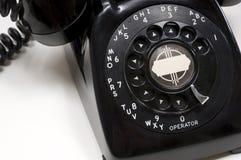 Настольный телефонный аппарат год сбора винограда черный стоковое изображение rf