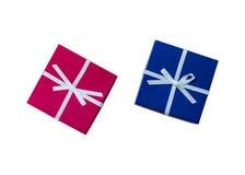 2 настоящего момента, с красным цветом, голубая лента на белой предпосылке Стоковая Фотография RF
