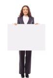 Настоящие моменты женщины с пустой белой доской Стоковые Фото