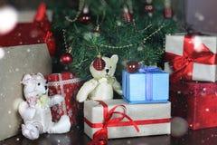 Настоящие моменты под рождеством дерева Стоковое Изображение RF