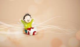 Настоящий момент ребенка раскрывая, giftbox иллюстрация штока