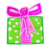 Настоящий момент рождества зеленый с фиолетовым смычком Стоковые Изображения