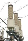 Настоящий трансформатор подстанция высокого напряжения 110 kV Стоковые Фотографии RF