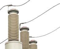 Настоящий трансформатор подстанция высокого напряжения 110 kV Стоковая Фотография