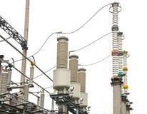 Настоящий трансформатор подстанция высокого напряжения 110 kV Стоковое Фото
