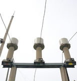 Настоящий трансформатор подстанция высокого напряжения 110 kV Стоковое фото RF