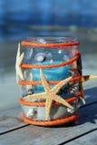 Настольная лампа в пляжном ресторане на Borkum Стоковое Изображение