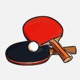 Настольный теннис шарика ракеток иллюстрация вектора