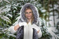Настроение зимы веселое, девушки с чудесными голубыми глазами стоковое изображение rf