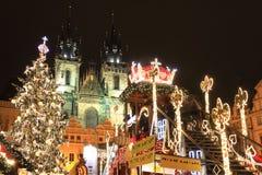 Настроение на старой городской площади, Прага рождества Стоковое Фото