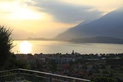 Настроение утра, восход солнца о Gravedona в озере Como Стоковая Фотография RF