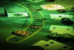 Настройте для игры блэкджека на казино стоковое изображение