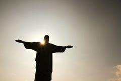 Наступление ночи над Cristo Redentor Стоковая Фотография RF