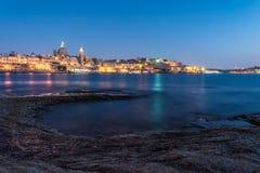 Наступление ночи на Валлетте, Мальте Стоковые Фотографии RF
