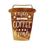 Насладитесь вашей литерностью перерыва на чашку кофе Иллюстрация вектора