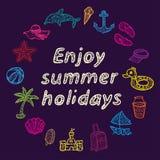 Насладитесь летними отпусками иконы пляжа установили Стоковое Изображение RF