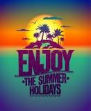 Насладитесь дизайном цитаты летних отпусков Стоковое Фото