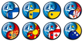 НАТО и Финляндия, Швеция, Украина, Сербия, Черногория, македония, Georgia, Босния Стоковое Изображение