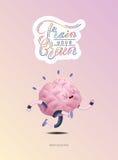 Натренируйте ваш плакат мозга при литерность, бежать Иллюстрация штока