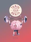 Натренируйте ваш плакат мозга с литерностью, поднятием тяжестей Иллюстрация вектора