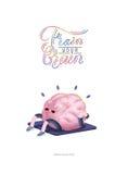 Натренируйте ваш плакат мозга с литерностью, телом вверх Иллюстрация штока
