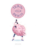 Натренируйте ваш плакат мозга с литерностью, тренировками гантелей Иллюстрация штока