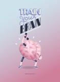 Натренируйте ваш плакат мозга с литерностью, тренировками гантелей Бесплатная Иллюстрация