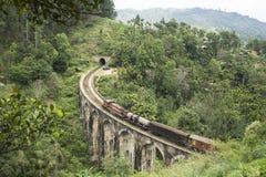 Натренируйте на каменном brigde в горах, Элле, Шри-Ланке Стоковая Фотография RF