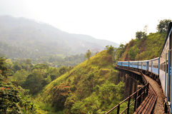 Натренируйте на мосте в стране холма Шри-Ланки Стоковые Изображения RF