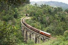 Натренируйте от задней части в горах Эллы, Шри-Ланки Стоковое фото RF
