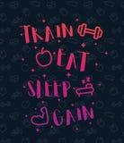 Натренируйте, съешьте, поспите, плакат со значками фитнеса бесплатная иллюстрация