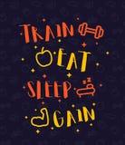 Натренируйте, съешьте, поспите, плакат спортзала со значками фитнеса иллюстрация штока