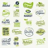 Натуральные продукты, натуральный продучт фермы свежий и подписывают собрание иллюстрация штока
